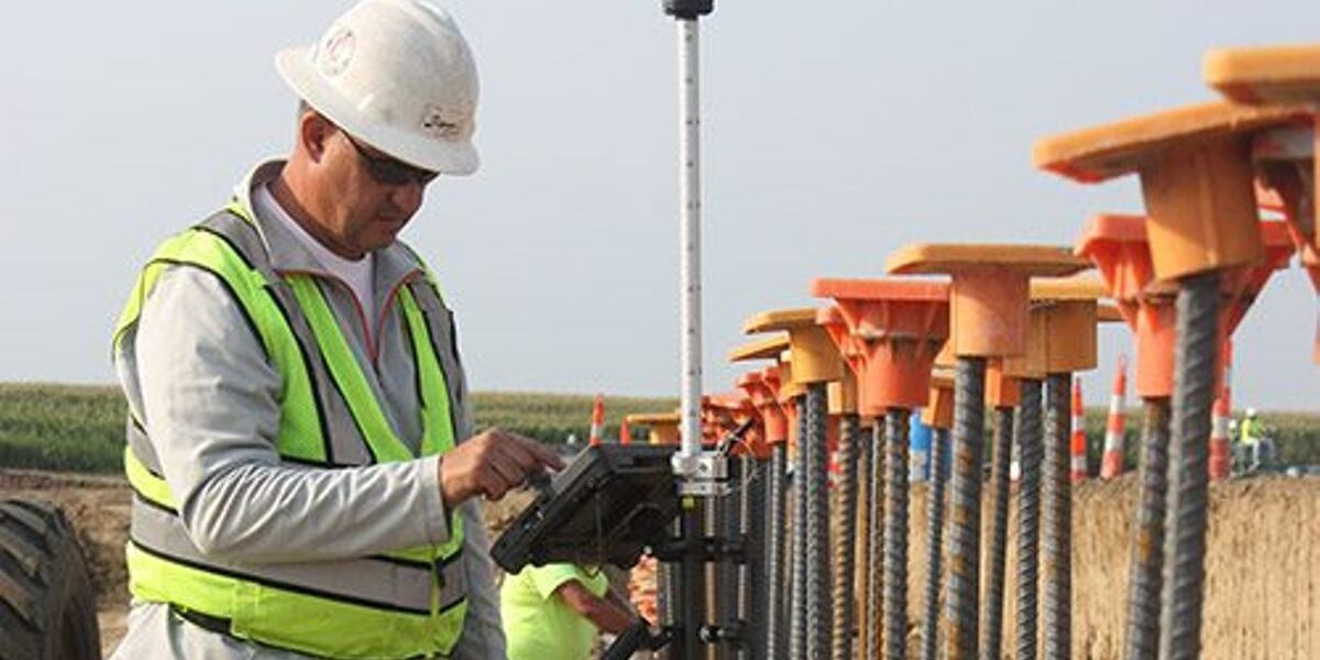 Man using tablet at construction site
