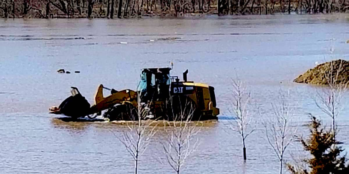 Equipment submerged in water after flood