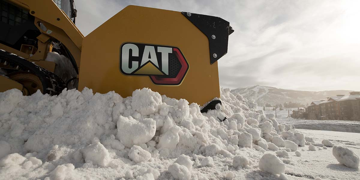 Close up of Cat vehicle in deep snow