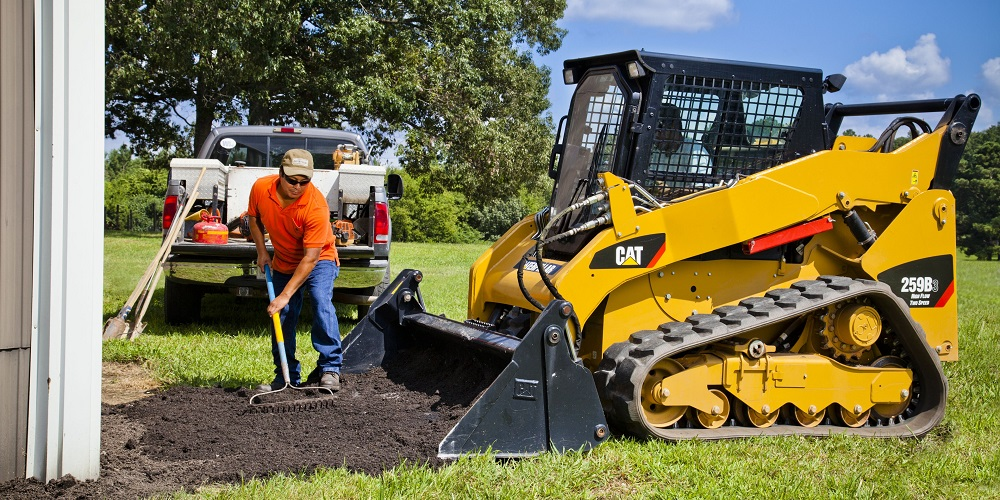 compact track loader used in landscaping